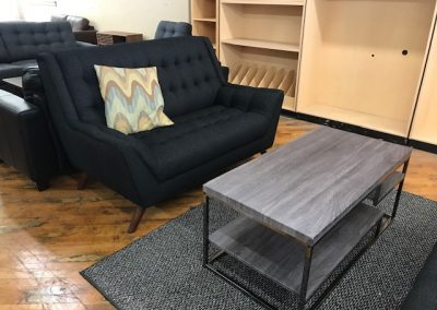 Black High Back Love Seat and Grey Coffee Table