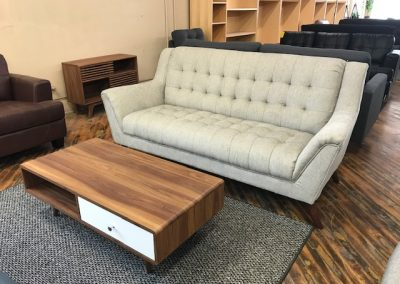 Grey High Back Sofa and Walnut Coffee Table with Drawers