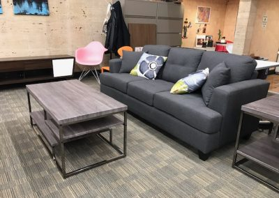 Grey Tufted Sofa with Grey Coffee Table