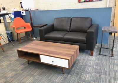 New Natuzzi Leather Love Seat and Walnut Coffee Table