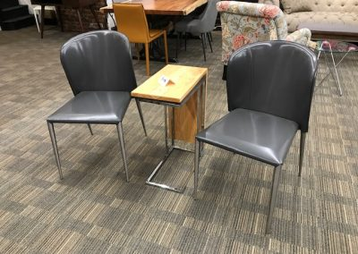 Grey Round Back Recycled Leather Chairs and Custom Wood Snack Table