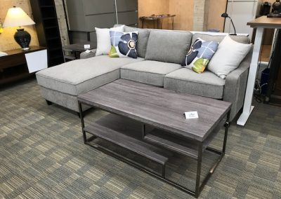 Grey Sectional and Grey 3-tier Coffee Table