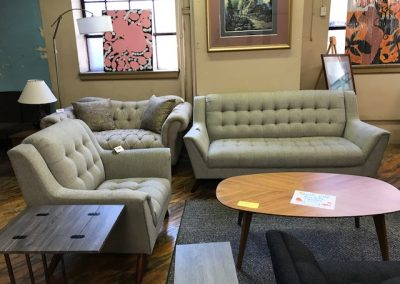 Light Grey High Back Sofa and Accent Chair