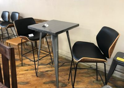 Metal Bar Table and Eames Style Bar Stools