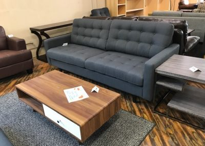Modern Grey Tufted Sofa and Walnut Coffee Table with Drawers