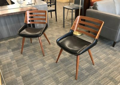 Modern Walnut and Black Leather Dining Chairs