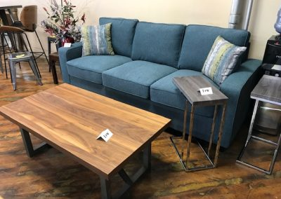 Teal Sofa and Walnut Grey Modern Coffee Table