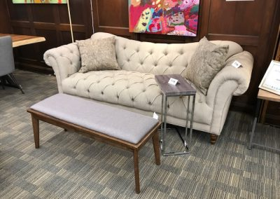 Traditional Queen Anne Style Tufted Sofa and Bench