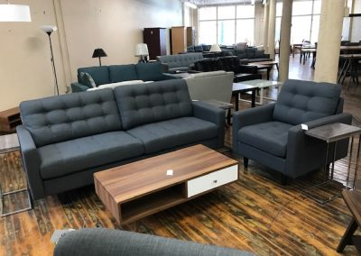 Modern Grey Sofa and Accent Chair