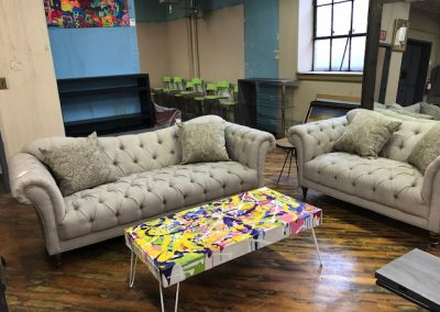 Traditional Queen Anne Style Sofa and Love Seat