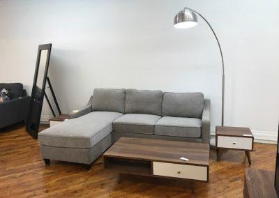 Grey Sectional Sofa + Modern Walnut Coffee & End Tables + Arc Lamp