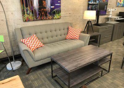 High Back Grey Tufted Sofa, Grey Tiered Coffee Table