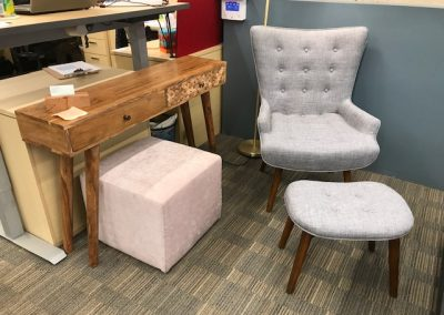 High Back Grey Accent Chair + Ottoman, Reclaimed Wood Console Table, Blush Pink Ottoman