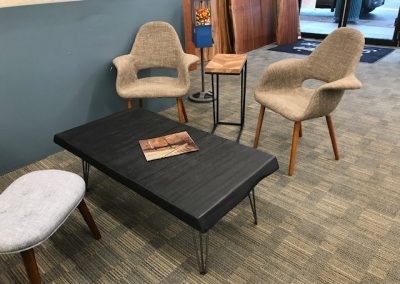Mid Mod Taupe Accent Chairs, Reclaimed Wood Snack Table, Live Edge Burnt Wood Coffee Table