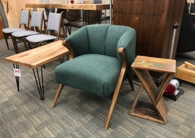 Mid Mod Green Accent Chair, Reclaimed Wood End Table