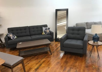 Modern Grey Tufted Sofa & Accent Chair, Modern Walnut Coffee Table