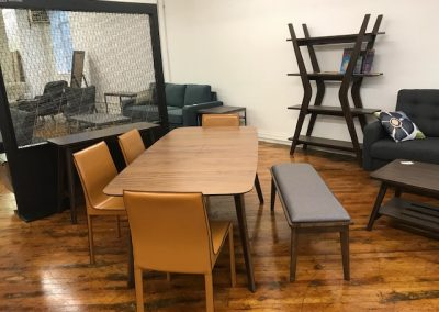 Expandable Modern Walnut Dining Table, Recycled Leather Dining Chairs, Modern Walnut & Grey Bench