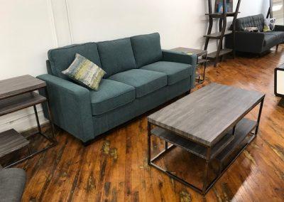 Teal Sofa + Grey Tiered Coffee Table