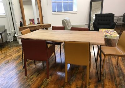 Live Edge Style Dining Table + Recycled Leather Dining Chairs