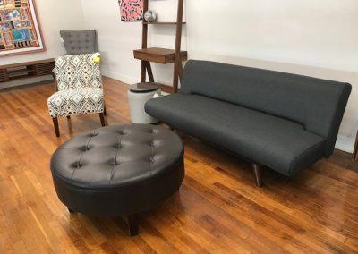 Modern Grey Futon, Round Tufted Storage Ottoman, Accent Chairs, Ottoman End Table, Walnut Ladder Desk