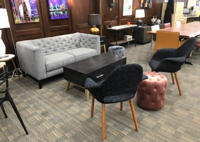 Natuzzi Grey Modern Chesterfield Style Love Seat, Black Mid Mod Accent Chairs, Velvet Poufs, Modern Coffee Table