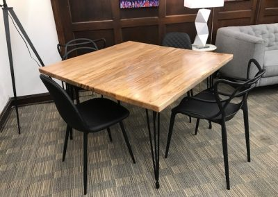 Custom Ambrosia Maple Dining Table, Modern Black Dining Chairs